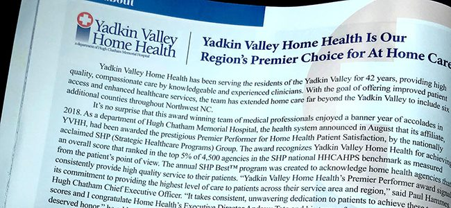 Yadkin Valley Home Health featured in Surry Living Magazine